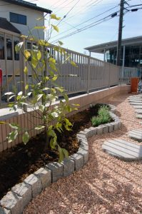 ピンコロ石で縁取った花壇とレモンの植栽