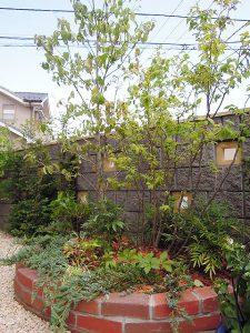 レンガ花壇の植栽