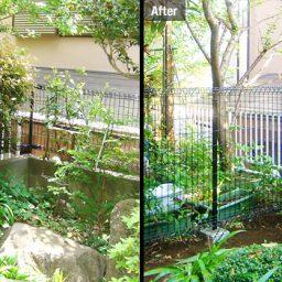 フェンス設置と四つ目垣の施工